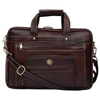 Sk Trader 22 Liters Leather Brown 14 Laptop Briefcase (Jt-2001Brown)
