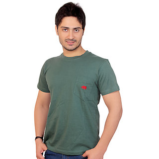 Rynos Round Neck T-shirt (Olive Green) (Large)