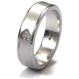 Ring In Band Made In Pure Hallmark 925 Sterling Silver & Zircon