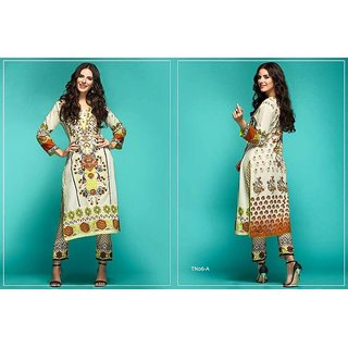 Cotton lawn Kurtis with embroidery and cotton bottom
