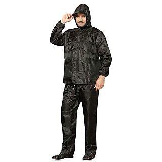 Black Stylish Bikers Reversible RainSuit for Men