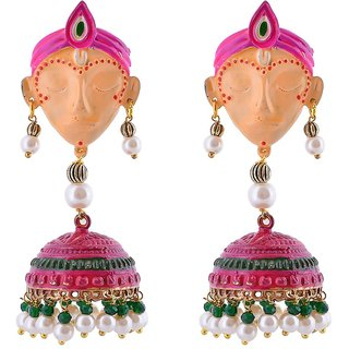 Penny Jewels Party Wear Fashion Designer Traditional Unique Multi Color Krishna Jhumki Set For Women  Girls