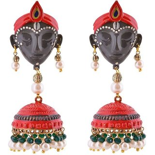 Jewels Gold Party Wear Fashion Unique Traditional Multi Color Krishna Jhumki Set For Women  Girls