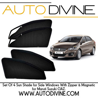 Buy maruti suzuki ciaz, Car Accessories Side Window Zipper Magnetic Sun Shade, Set of 4 Curtains