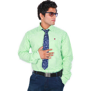 BarryLine London White & Light Green Gingham Checked Casual Shirt