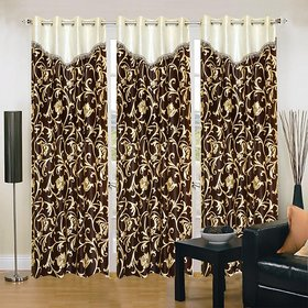 Polyester Chocolate Door Curtain   (210 cm in Height, Pack of 3)