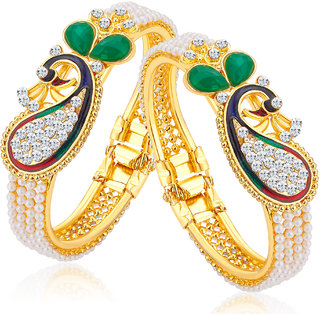 Sukkhi Ritzy Alloy Gold Plated Austrian Diamond Kada For Women Combo Of 2