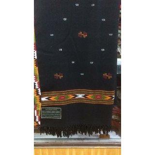 Handmade kullu shawl in 100 woollen with attached side border