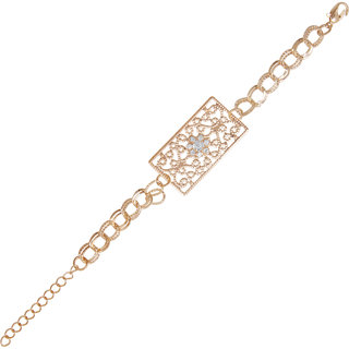 The99Jewel by JewelMaze Gold Plated Austrian Stone Zinc Alloy Adjustable Bracelet-AAB0328