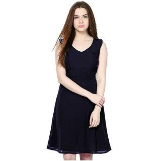 d29001df3f5a Buy Indicot Navy Blue Georgette A-Line Women Evening Party Wear Dress  Online - Get 72% Off