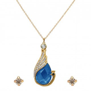 The99Jewel by JewelMaze Zinc Alloy Blue Austrian Stone Gold Plated Pendant Set-AAB0854