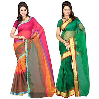 Ansu Fashion Charming Multi Colour Chettinad Sarees Pack of 2
