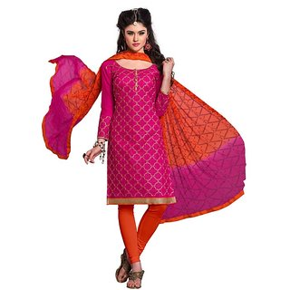 DnVeens Women's Chanderi Cotton Embroidered Party Wear Unstitched Churidar Dress Material