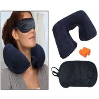 Pickadda Three Travelling Treasures Kit Neck Cushion Pillow With Two Ear Buds And Eye Mask