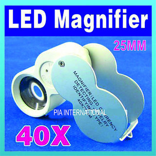 45x 22mm Glass Magnifying Magnifier Jeweler Eye Jewelry Loupe Loop LED
