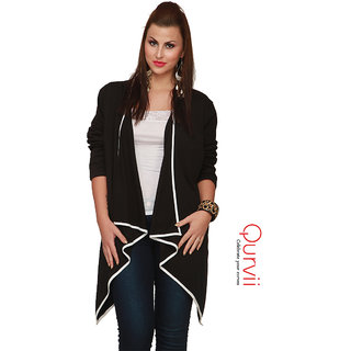 33aaaea3c7 Buy Qurvii Black Striped V-Neck Shrug Jersey shrug Online - Get 50% Off
