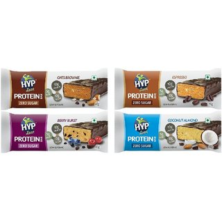 HYP Sugarfree Variety Pack - 8 Bars (2 Oats+ 2 Espresso+ 2 Berry+ 2 Coconut)