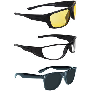 Zyaden Black UV Protection Unisex Wrap-around Sunglass