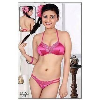 5b4547d239890 Hot Fun Lingerie Set 2pc Bra Panty Bedroom Bikini Sleep Dark Pink Night  13153