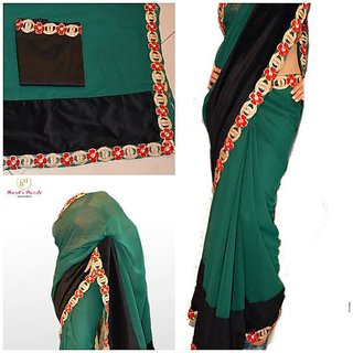 #BOTTLE GREEN georgette saree with cutwork and velvet .blouse in black raw silk