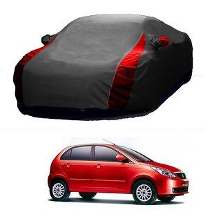 RoadPluS All Weather  Car Cover For Tata Indigo CS (Designer Grey  Red )