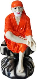 Statute Orange / Sai Baba/ Sai Statute/ Handicrafts/ Sai Baba Orange Marble Polyester/ God Statute/ Sai Baba Murti/ Shree Sai Statute Orange (St0185)