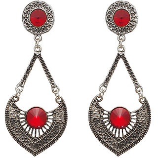 Urthn by JewelMaze Zinc Alloy Red Austrian Stone Silver Plated Dangler Earrings-AAB0809