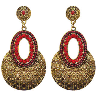 Urthn by JewelMaze Zinc Alloy Red Austrian Stone And Pearl Gold Plated Dangler Earrings-AAB0818