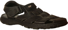 HUSH PUPPIES -Men Black Leather Sandal