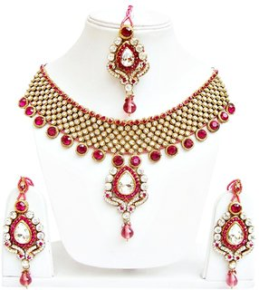 Jewels Capital Exclusive Golden Pink Necklace Set /S 1262