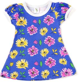 Cucumber Half Sleeves Frock Allover Floral Print - Blue (0 to 3 months)