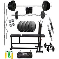 VENOM Home Gym With 74 Kg. Weight Plates, Dumbell Rods,