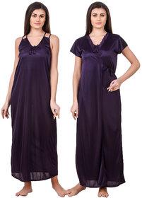 Fasense Satin 2 Pc Set of Nighty  Wrap Gown ED008