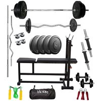 VENOM Home Gym With 92 Kg. Weight Plates, Dumbell Rods,