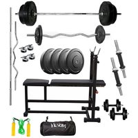 VENOM Home Gym With 80 Kg. Weight Plates, Dumbell Rods,