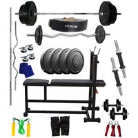 VENOM Home Gym With 12 Kg. Weight Plates, Dumbell Rods,