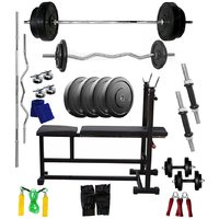 VENOM Home Gym With 30 Kg. Weight Plates, Dumbell Rods,