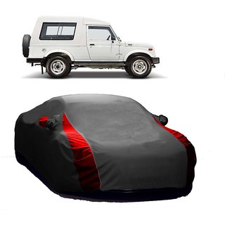 SpeedGlorY All Weather  Car Cover For Maruti Suzuki Gypsy (Designer Grey  Red )