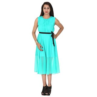 f5f95bd42e4b Buy Indicot Turquoise Green Women One Piece Long Plain Western Party Wear  Dress Online - Get 38% Off