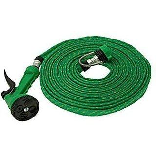 Phonoarena water spray gun 10 meter long hose pipe - Green (Set of 1)