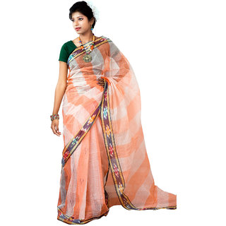 Hawai Peach Brasso Striped Saree With Blouse