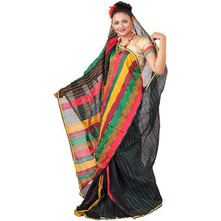 Hawai Black Brasso Striped Saree With Blouse