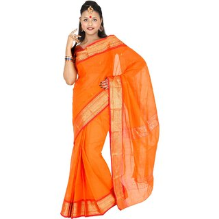 Hawai Peach Brasso Self Design Saree With Blouse