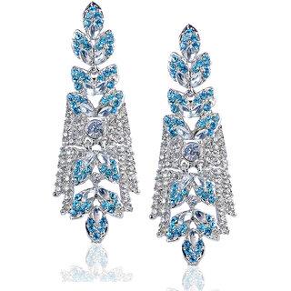 Mithya by JewelMaze Zinc Alloy Silver Plated Blue Austrian Stone Dangler Earrings-DAA0071