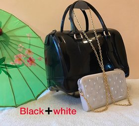 Black And White Color Combo Handbag For Girl's And Wome