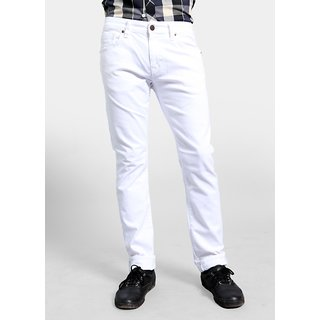 White Jeans Lycra Men