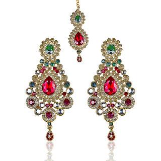 Mithya by JewelMaze Gold Plated Kundan Red And Green Austrian Stone Dangler Earrings with Maang Tikka-DAA0079