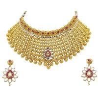Mithya by JewelMaze Zinc Alloy Pink Austrian Stone Gold Plated Kundan Necklace Set-DAA0064