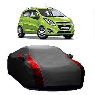 AutoBurn Car Cover For Chevrolet Beat 2015 (New Model) (Designer Grey  Red )
