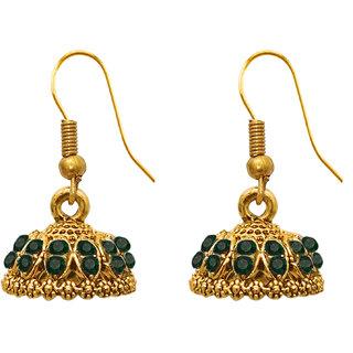 The99Jewel by JewelMaze Gold Plated Green Austrian Stone Zinc Alloy Jhumki Earrings-DAB0032
